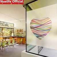 60x100cm Color stripe love pattern window film sitting room bathroom living room kitchen balcony opaque frosted glass film N4