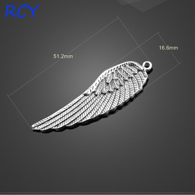 Factory Price 4 Pieceslot 51mm*16mm Antique Silver Plated angel wing charm for jewelry making