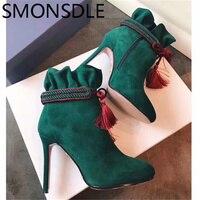 SMONSDLE Новая мода черные; зеленые; красные Женские полусапожки из натуральной кожи круглый носок молния сбоку тонкий высокий каблук женские з