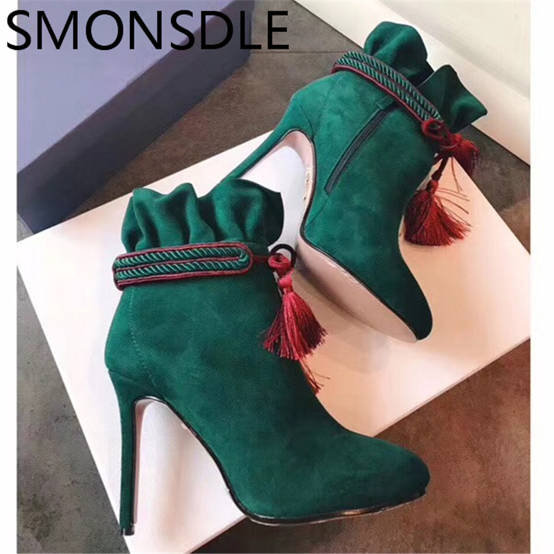 SMONSDLE New Fashion Black Green Red Genuine Leather Women Ankle Boots Round Toe Side Zip Thin High Heel Women Winter Boots Shoe seiko часы seiko srn054p1 коллекция conceptual series dress