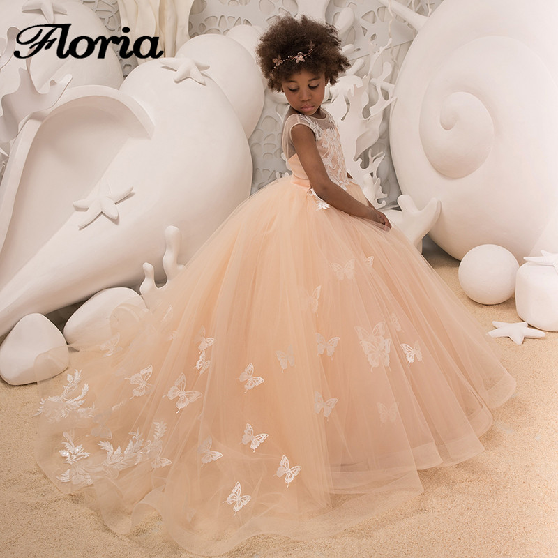 Princess Butterfly Champagne   Flower     Girl     Dresses   First Communion   Dresses   For   Girls   Vestidos Daminha   Girls   Evening Pageant Gowns