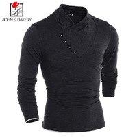 John S Bakery2017 Brand Male T Shirt Oblique Button Collar Trends T Shirt Men Funny Summer