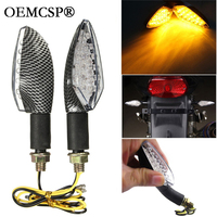 2 Pair High Quality Amber Light Universal Flexible 12v LED 4x Carbon Motorcycle Turn Signal Indicators