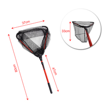 80cm Fly Fishing Net Telescoping Landing Net Aluminum Alloy Pole Lightweight Nylon Folding Landing Net Fishing Tackle