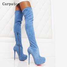 2017 New Women Suede Slim Sexy Fashion Over-the-Knee Boots Sexy Thin High Heel Boots Platform Woman Thigh High Boots Shoes