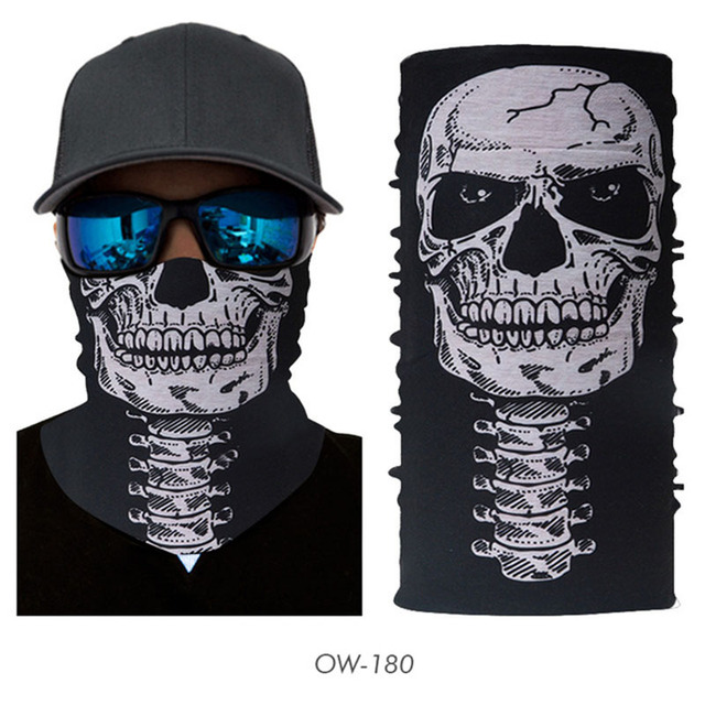 3D Seamless Skull Buffe Bandana Neck Face Mask Headscarf Tube Multifunctional Skeleton Bandana Unisex Cycling Headband Balaclava