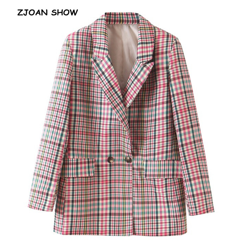 2019 New Autumn Double-breasted Button Gingham Plaid Blazer Boyfriend Friend Style Women Long Sleeve Mid Long Suit Coat Coat
