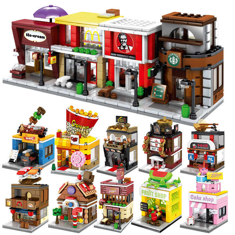 Mini Street Shops DIY Model Building Blocks Kit Children Educational Toys Assemble Bricks Christmas Gifts Wholesale