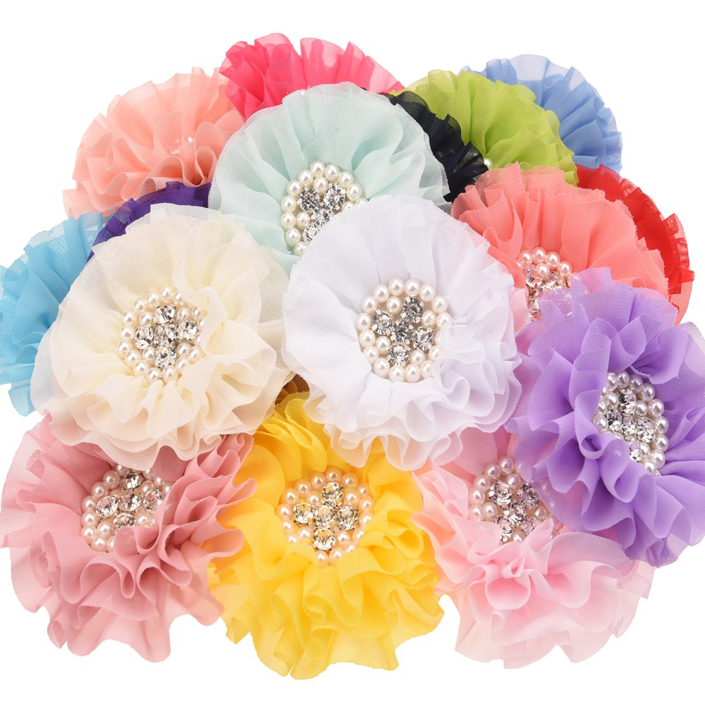 4PCS Pearl Rhinestone Cluster Flower Chiffon Rosette Flowers  Hair Accessories Hair Flower Without Hairclips No Barrette Bows