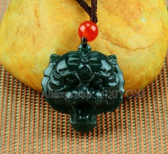 Natural Green HeTian Jade Carved Chinese Tiger Head Amulet Lucky Pendant + Free Rope Necklace + Certificate Fine Jewelry
