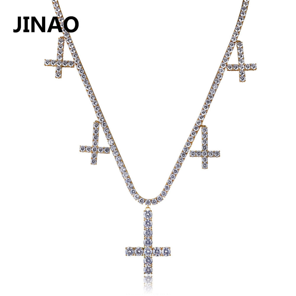 New Hip Hop Fashion Cross Pendant Necklace Tennis Chain 22inch Five Cross Gold Silver Cubic Zircon Copper Chain Rock Style Gift