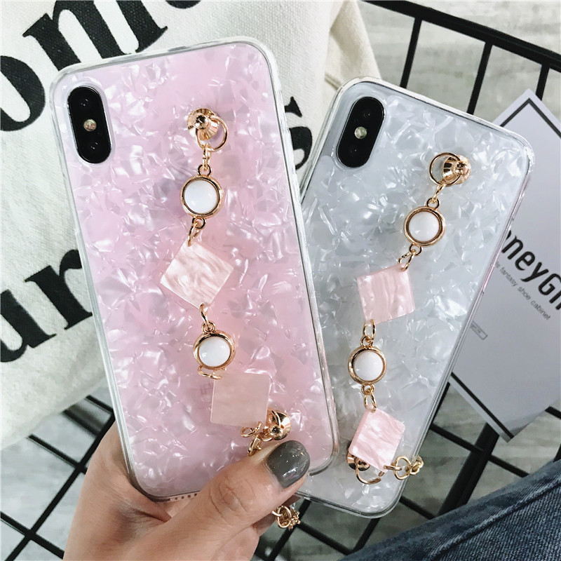 Fresh Cute Girls Rhinestone Diamond Chain Bracelet Shell Soft Phone Case For Samsung S10E Lite S10 S9 S8 Plus S7 Edge Note 9 8 in Fitted Cases from Cellphones Telecommunications