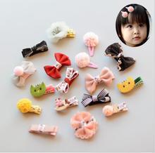 17PCS/set NEW Cute Ribbon bow Flower Hair Clips Baby Exquisite Headdress Girls Accessories Toddler Headwear Hairpins J54