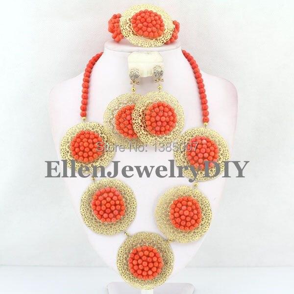Nigerian Coral Jewelry Set Coral Beads Necklace Set Nigerian African Wedding Beads Jewelry Set W7379 цена