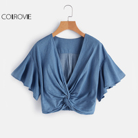 COLROVIE Twist Denim Crop Tops Blue Casual Knot Front Blouse 2017 Women Flutter Sleeve Summer Tops