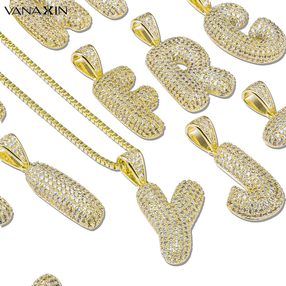 VANAXIN Letter Necklace Gold Color For Men Thicken 0.5M Plating AAA White CZ High Quality All Initial Letter Pendants&Necklace купить в Москве 2019