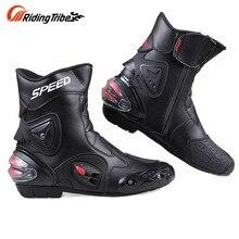 Бесплатная доставка Голеностопного сустава защиты мотоциклов сапоги Pro-Байкер SPEED сапоги для motorcyle Гонки Мотокросс Сапоги BLACK RED WHITE
