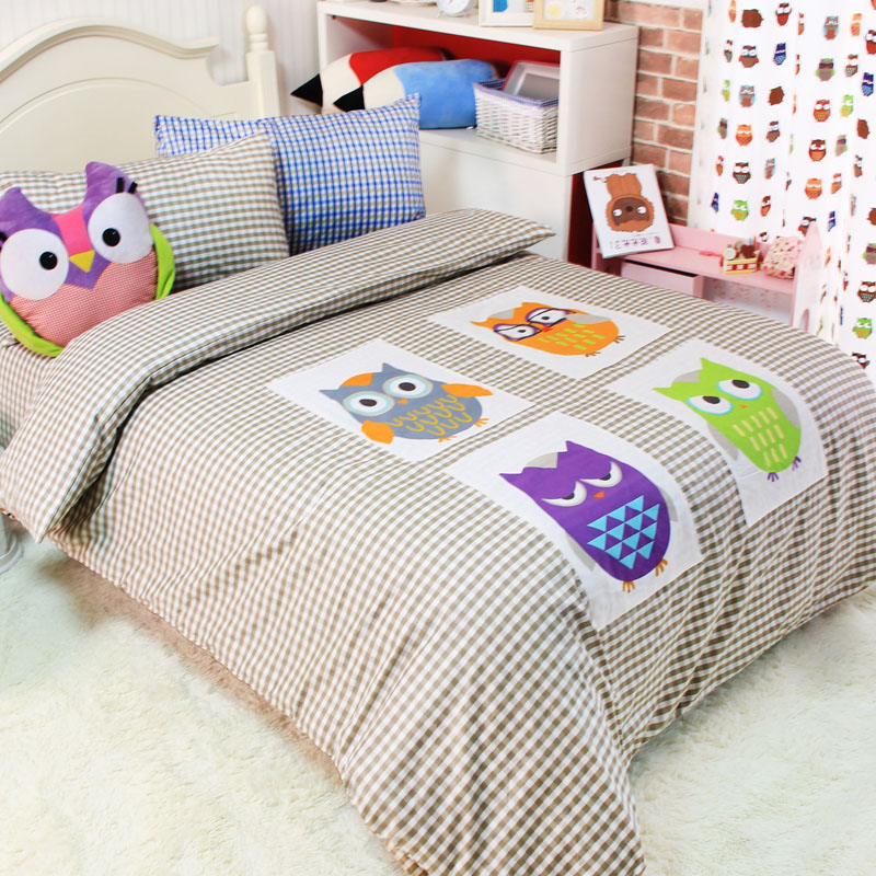 Applique Owl Cotton Bed Sets For Kids Twin Full Queen