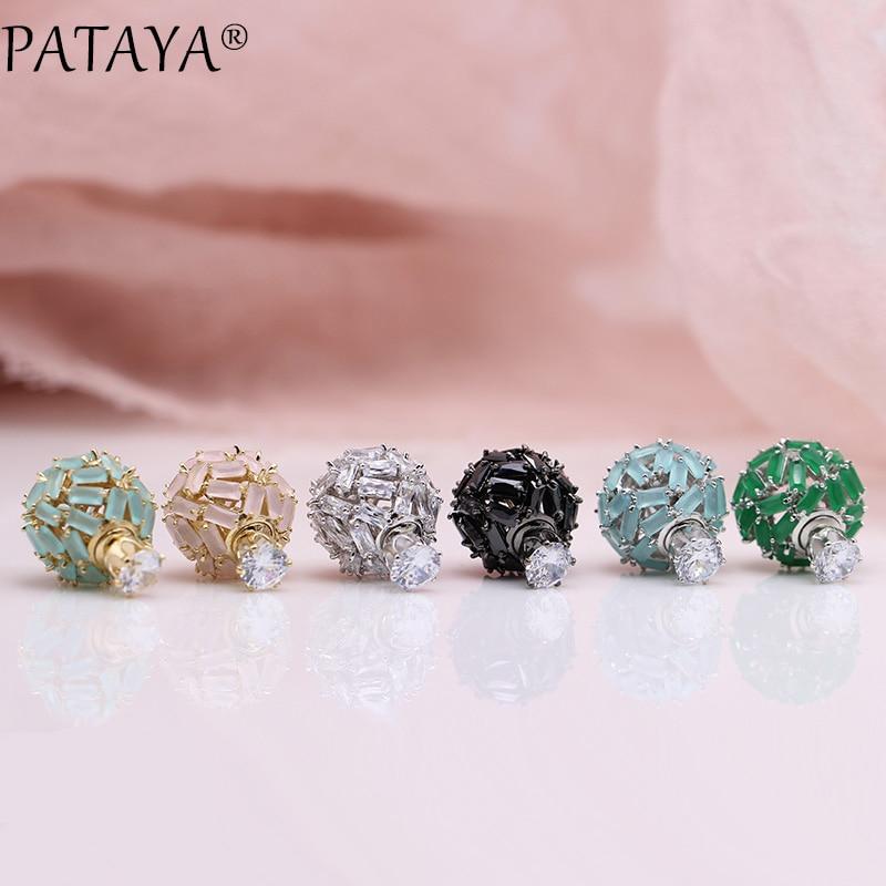 PATAYA nouveau 585 or Rose or blanc carré naturel zircone balle boucles d'oreilles 925 argent aiguille femmes de mariage bijoux de luxe