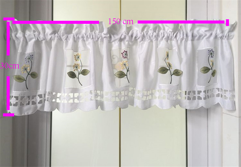 aliexpresscom buy 2016 flower kitchen curtains short styles valances white embroidered sheer window curtains short new arrival from reliable sheer window - Styles Of Valances
