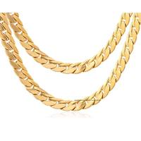9mm Fagaro Chain Chunky Necklace For Men Big Gold Plated Necklaces Trendy Long Hip Hop Rock