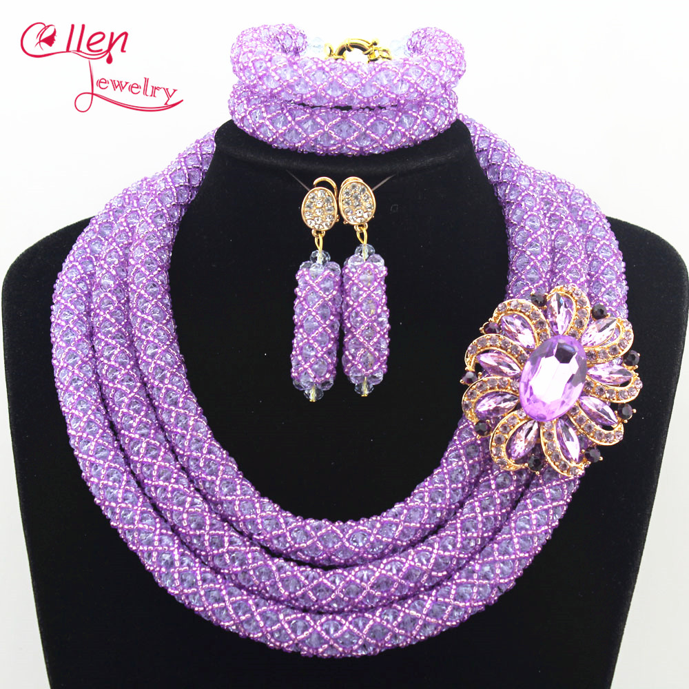 цена Nigerian Wedding Accessories Colorful African Beads Jewelry Set Handmade Bridal Jewelry Sets Necklace Bracelet Earrings N0010 онлайн в 2017 году