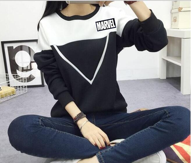 New Women's V-shaped MARVEL Hoodie Fashion Black & White Mosaic Color Blocked Hooded Jacket Women's V-neck Pullover