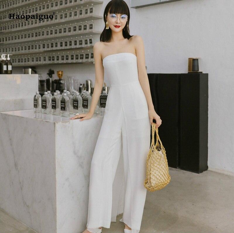 2018 Women Solid Jumpsuit Romper Summer White Sleeveless Straight Vintage Elegant Jumpsuit Romper Casual Office Lady Bodysuit