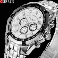 Hot Sale Stylish CURREN Sports Men Watch Stainless Steel White Adjustable Quartz Analog Wrist Watch Men