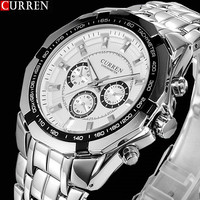 Hot Sale Stylish CURREN Sports Men Watch Stainless Steel White Adjustable Quartz Analog Wrist Watch Men