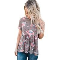 YSMARKET Lace Up Back Floral Fashion Ruffle Top Women Summer 2017 Crop Elegant Casual T Shirt