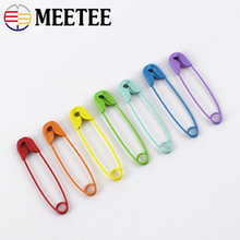 Meetee 100pcs Metal Colorful Pin Lock Pins Buckle DIY Sewing Creative Bag Clips Cloth Brooch Holder Accessories BD479