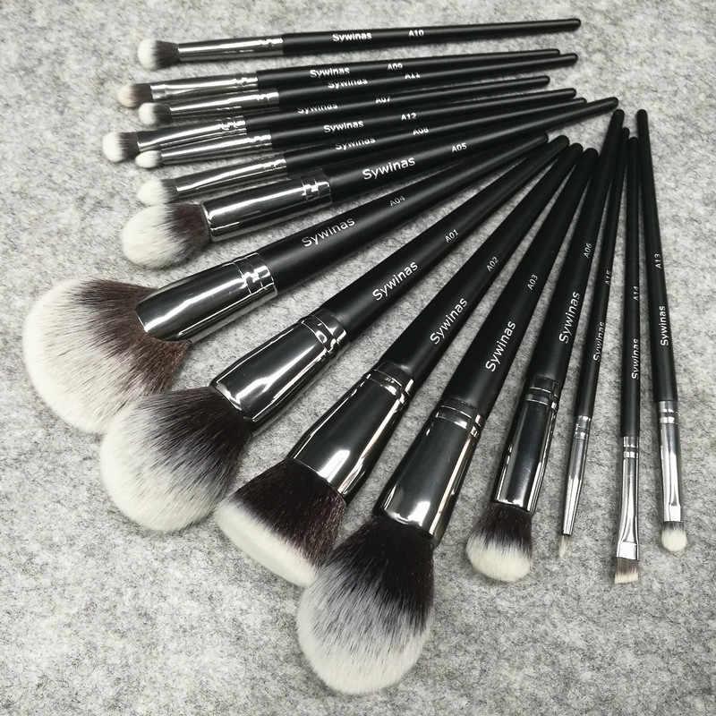 Sywinas pełna profesjonalne makeup muśnięcie ustawia 15 pcs wysokiej jakości czarny uchwyt naturalne włosy syntetyczne tworzą szczotki zestaw narzędzi.