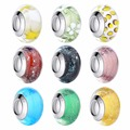 BAMOER Wholesale Silver Plated Luminous European Brown Murano Glass Beads fit Bracelet Women Fashion Jewelry PA6366