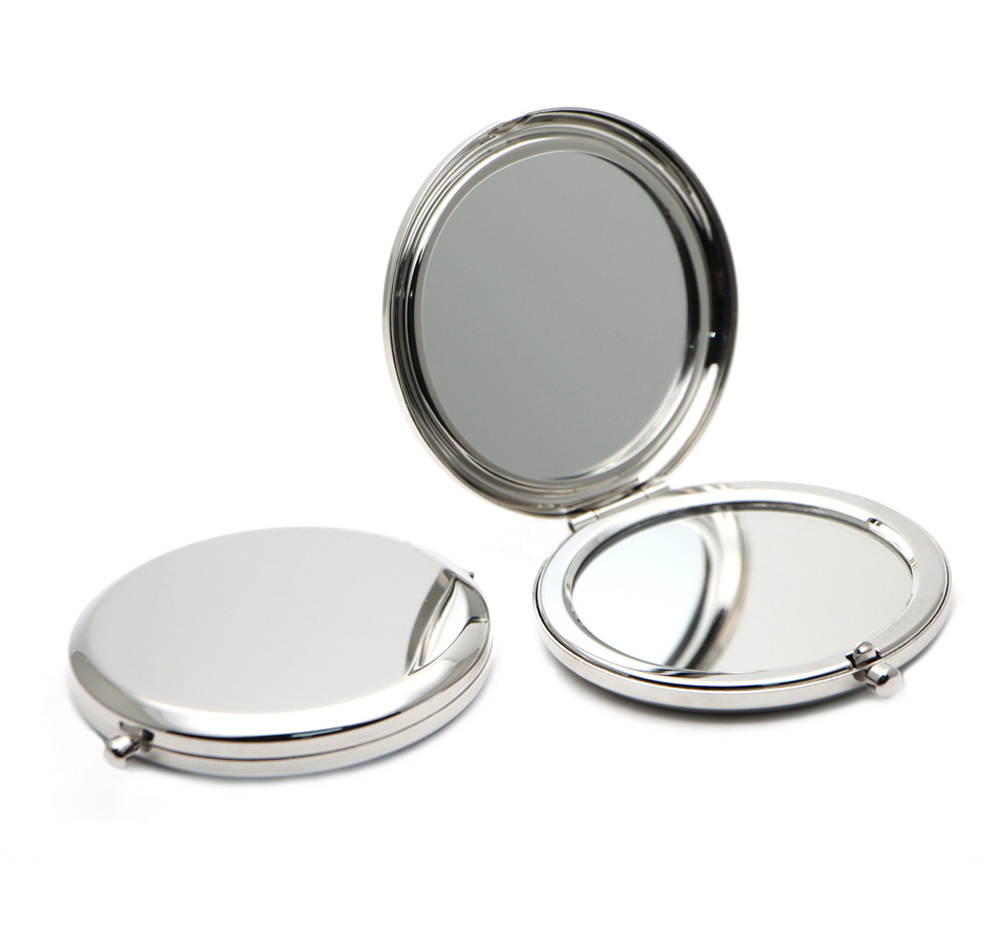 Personalised Compact Mirror Silver Engraved Cosmetic magnifying ...
