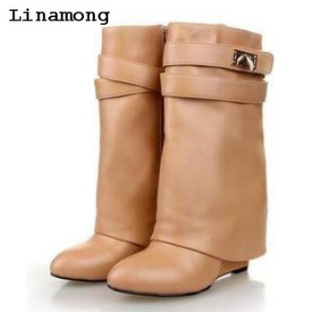 Winnter unique New Arrival length to ankle Boots Pointed toe Boots with buckle strap flat with short boots