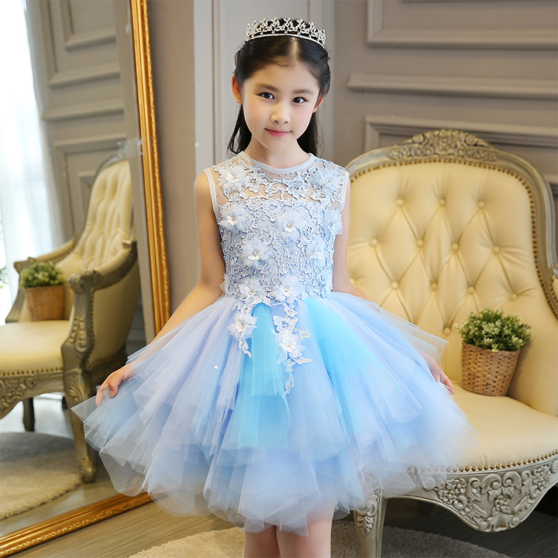 Children baby flower girl formal evening tail dress ball gowns prom wedding  bridesmaid kid clothes beautiful princess party Blue-in Dresses from Mother  ... 5059b6d53