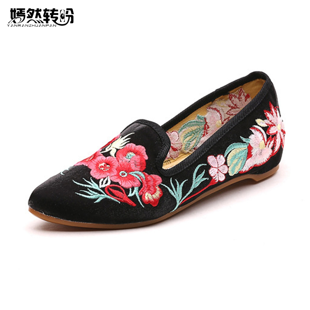 Chinese Women Flats Shoes Vintage Flower Embroidery Pointed Toe Comfort Slip-on Summer Ballet Shoes Woman Zapatos De Mujer chinese women flats shoes vintage boho