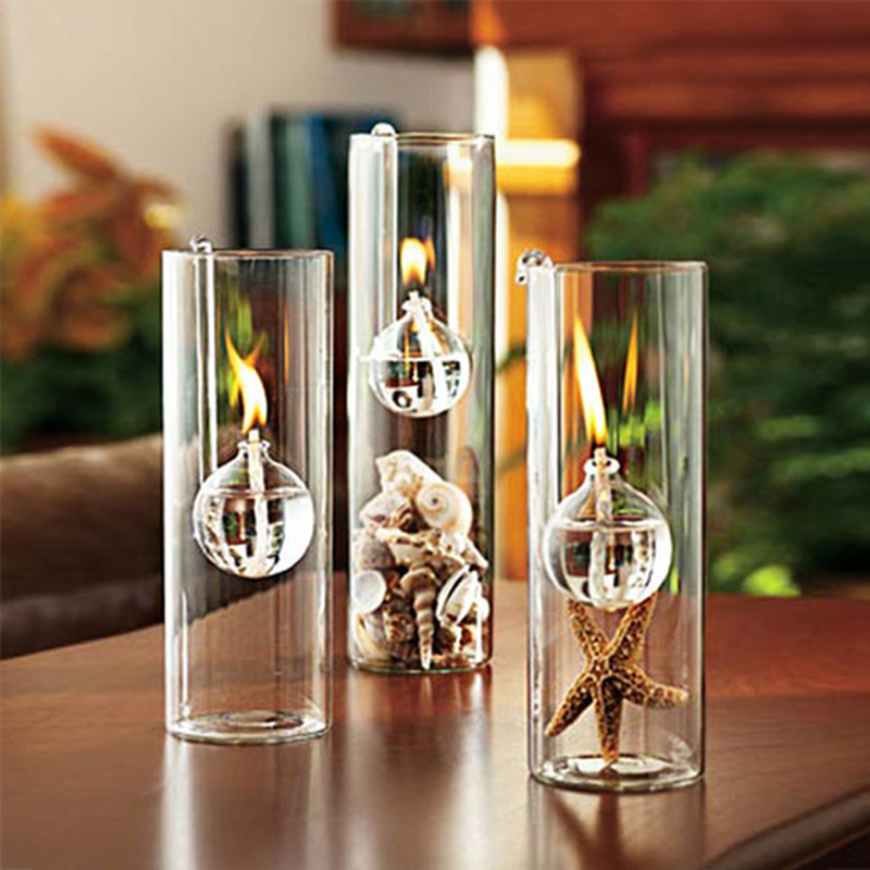 Creative European-made romantic transparent glass cylindrical oil lamp wedding decoration gift instead of candle holder home