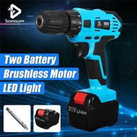 21V Electric Cordless Brushless Drill Household Lithium Ion Battery Driver 2 Speed 2 X Li Ion