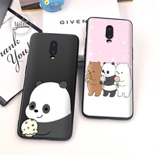 Cute Three Bear for Caseing Oneplus 6T Phone Cover Black Soft TPU Case Shell 7