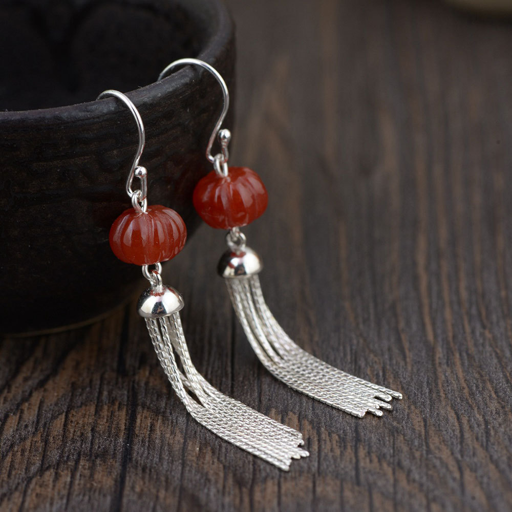 FNJ 925 Silver Earrings for Women Jewelry Hang Green Red Stone S925 Sterling Silver boucle d'oreille Tassel Chain Drop Earring pair of stylish red tassel drop earrings for women