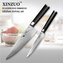 XINZUO 2 PCs kitchen knife set Japanese VG10 steel kitchen knife Damascus chef knife kitchen tool utility knife free shipping