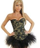 Envío libre ejército CAMO camuflaje burlesque Militar corsé ld0114 sexy lingerie bustier Tops overbust corsé