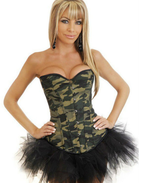 Free Shipping Army Camo Camouflage Burlesque Military Corset Basque LD0114 Sexy Lingerie Strapless Bustier Tops Overbust Corset