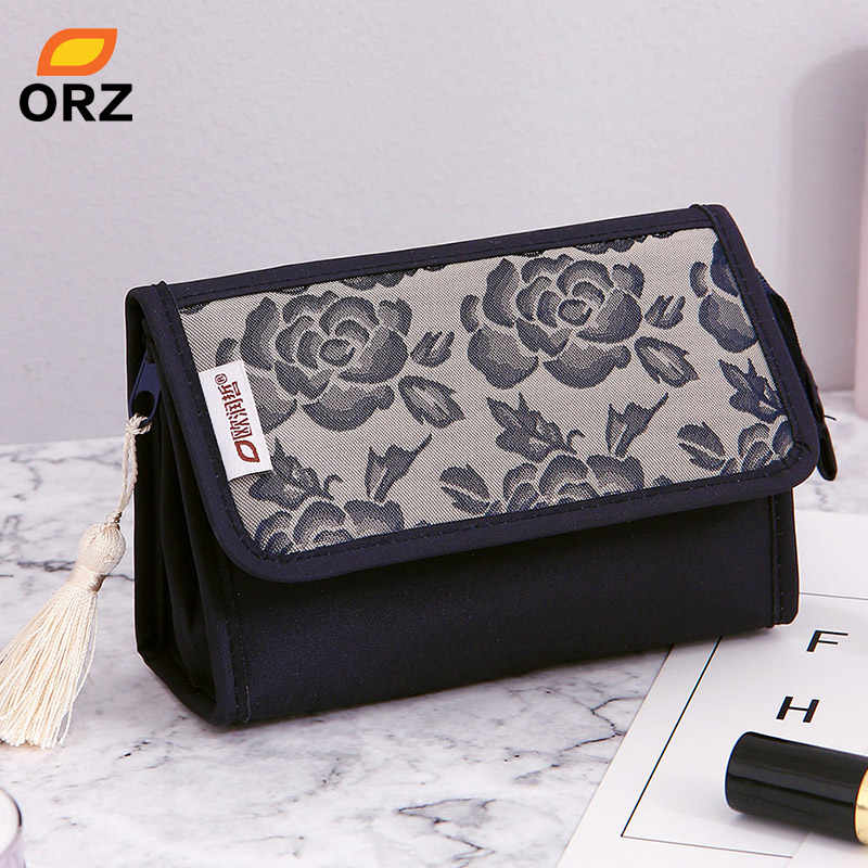 ORZ Pretty Rose Pattern Cosmetic Organizer Makeup Bag With Mirror Travel Toiletry Pouch Portable Storage Box Cosmetic Makeup Bag