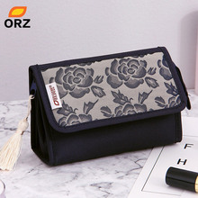 ORZ Pretty Rose Pattern Cosmetic Organizer Makeup Bag With Mirror Travel Toiletry Pouch Portable Storage Box Cosmetic Makeup Bag недорого