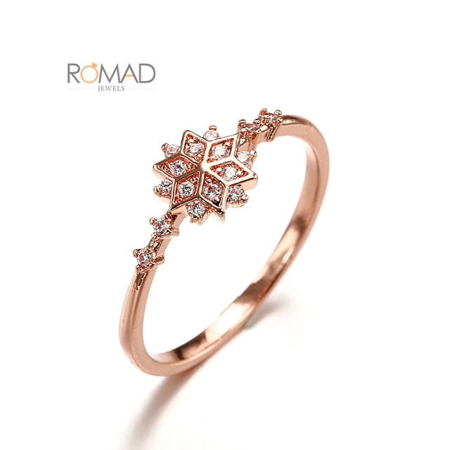 Trendy Cubic Zirconia Engagement Rings For Women Rose Gold Snowflake Ring 2019 Size 5/6/7/8/9/10/ Party Women's Ring Jewelry Z4