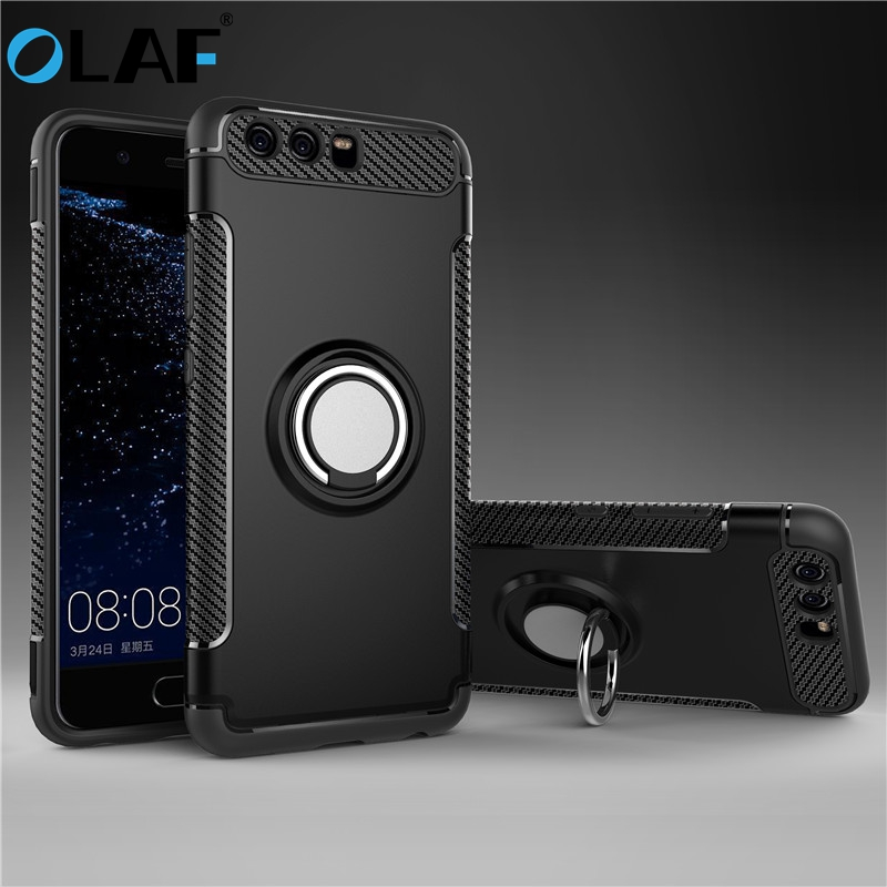 Olaf For Huawei P10 Lite դեպքեր Robot Armour Ring Kickstand Rubber Case for Huawei P10 Cover For Huawei P10 Plus Car հեռախոսի տիրոջ համար