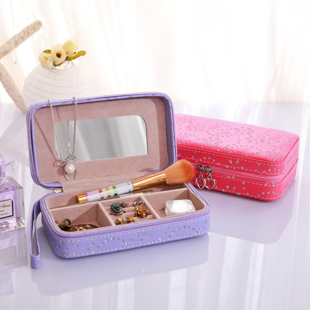Point Set jewelry box container jewelry organizer with mirror